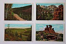 "Lot of 4 ""On Union Pacific Railroad"" Linen Postcards Wyoming Cheyenne Laramie"