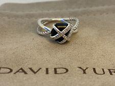 David Yurman Sterling Silver Cable Wrap Ring w/ Black Onyx & Diamonds Sz 8