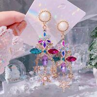 Kristall baumeln Ohrringe Frauen Snowfale Flower Pendientes Schmuck Geschenke