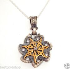 Oxidized Cubic Zirconia CZ Floral Pendant with Cable Chain 925 Sterling Silver