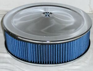14 x 4 Chrome Recessed Base Round Washable Air Cleaner Blue Filter Street Rod