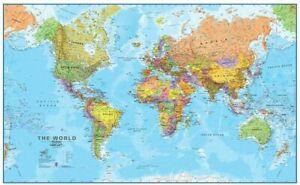 "Maps International Giant World Map Poster 78 x 48"""