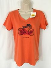 NEW Life Is Good Women's Orange Go Places Bike Classic Fit Crusher T-Shirt Small