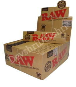 RAW Classic King Size Slim Rolling Papers Natural Unrefined Skins 110mm x 44mm