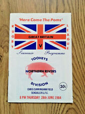 More details for northern rivers division v great britain 1984 rugby league programme