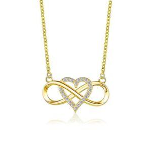Herzkette Halskette Unendlichkeit Gold Silber Rose-Gold Anhänger Kette Herz Love
