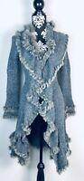 JOHN FASHION Womens size S Black-Gray Faux Fur Long Duster Cardigan Sweater