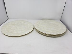 """Vintage PIER 1 IMPORTS Mother of Pearl MOP Charger Plates Set of 8 W/ Tags 13.5"""""""