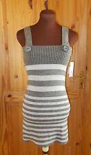 PILOT grey silver metallic striped knitted jumper dress tunic top BNWT 10 12 14