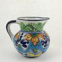Talavera Mexico Pitcher Vintage Hand Made Painted Pottery Blue Mexican Vase Jug