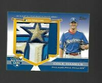 2012 Topps Update All Star Stitches Jumbo Patch #D 2/6 COLE HAMELS PHILLIES CARD
