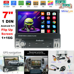 """7"""" Single DIN Android 9.1 Flip Up Screen GPS Navigation Car Stereo Player 1+16G"""