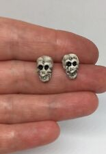 Tiny Scull Stud Earrings Silver Plated Fittings