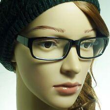 VINTAGE Nerd Rectangle Unisex Mens Frame Trendy Clear Lens Eye Glasses BLACK