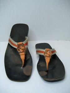 Gucci Vintage Women US 8.5 Orange GG Logo Flip Flop Flat Slide On Sandals Shoes