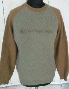 Preloved Ladies CALVIN KLEIN JEANS Beige Crew Neck Wool Mix Jumper Size L(31f)