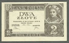 Poland 2 Zlote 1936 UNC No Serial Number