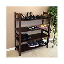 Shoe Boot Rack Stand Storage Wood Furniture 4 Shelf Home Organizer Veranda Brown