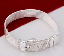 * UK*925 Sterling Silver Plate Orologio Cinturino Bracciale 925 timbrato alta qualità AAA