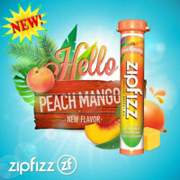 ZipFizz All Natural Energy Drink Mix PEACH MANGO (30 Tubes) * FREE SHIPPING *