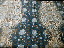 Vintage French Indienne Paisley Bird Batik Furnishings Fabric ~Indigo Blue Brown