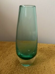 "Green Glass Bud Vase, 6"" Tall (418)"