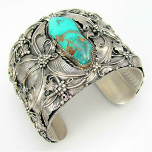 Fashion Carve Silver Turkish Handmade Turquoise Bracelet Men Women Party Jewelry