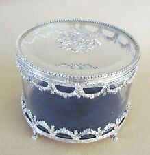 Sterling Silver & Glass Round Jewel Case with Velvet Interior=STUNNING=UNUSUAL!!