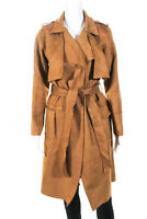 L'atiste Womens Knee Length Belted Faux Suede Trench Coat Brown Size Small