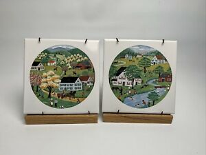 2 vintage Amish farm scene tiles With Stands