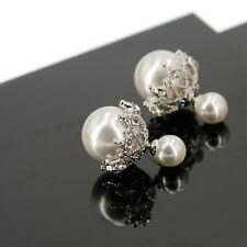 Boucles d`Oreilles Tige Argent 925 Clous Dentelle Double Perle Derriere B15