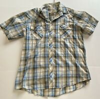 Wrangler Wrancher Pearl Snap Western Plaid Short Sleeve Shirt Men Size XL Tall