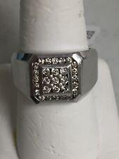 MEN'S 14K WHITE GOLD .38 TCW DIAMOND CLUSTER RING