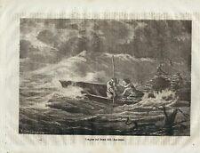 Stampa antica RIO DELLA AMAZZONI barca nell' uragano 1872 Old Antique print