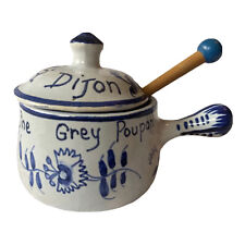 French porcelain decorative collectible useful Blue and White Marque et Modele Grey Poupon Mustard Jar