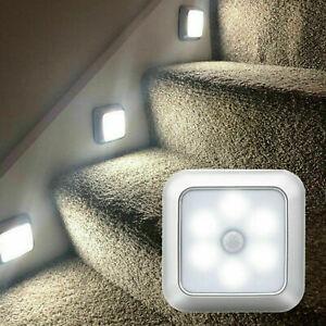 6LED Motion Sensor Lights PIR Wireless Night Light Battery Cabinet Stair Lamp