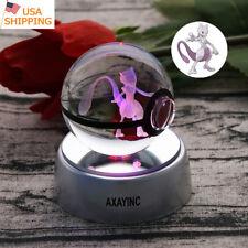 Pokemon Elf Mewtwo 3D LED Crystal Pokeball Night Light Table Desk Lamp Gift 50mm