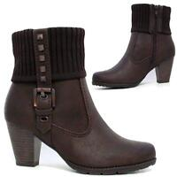 LADIES FASHION ANKLE BOOTS KNITTED COLLAR BUCKLE STRAP INSIDE ZIP BROWN SIZE 3-8