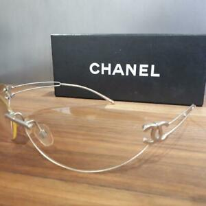 Auth CHANEL CC Logo Clear/Silver Rimless Sunglasses 4049-103/61C Women Used F/S
