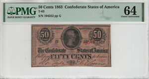 1863 50 CENT T-63 CONFEDERATE STATES OF AMERICA FRACTIONAL NOTE PMG CU 64 (033)