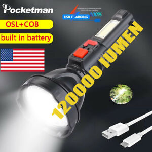 120000LM LED Flashlight USB Rechargeable Searchlight Torch Spotlight 4 Modes
