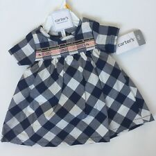 Carters Newborn Navy Blue/White Plaid Checks Swing Dress Super Cute Easter