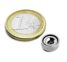2 MAGNETE Base Acciaio 10x4,5 mm. Kg.1,5 con foro svasato super potente NEODIMIO