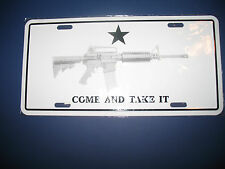 "White Texas Come and Take it M4 Machine Gun 6""x12"" Aluminum License Plate Tag"