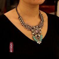 Collier Art Deco Goutte Noir Perle Rose Triangle Retro Original  Cadeau QT 9