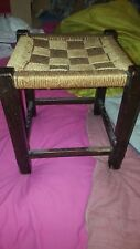 VERY LOVELY SMALL VINTAGE RETRO BUFFET / STOOL WEAVED ROPE TOP