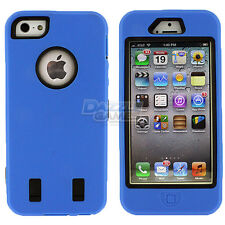 For iPhone 5 5G Combo Hard Hybrid Rubber Case Snap On Cover Silicone + Protector