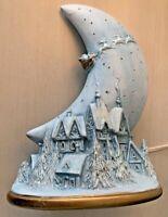 Vintage Christmas Ceramic Village Moon Santa Claus Light Up Figurine Holiday
