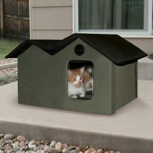 K&H Extra-Wide Indoor/Outdoor Unheated Kitty House - Olive Green & Black