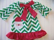 Girl's Christmas Santa Dress, green and white chevron, 100% cotton, size 7